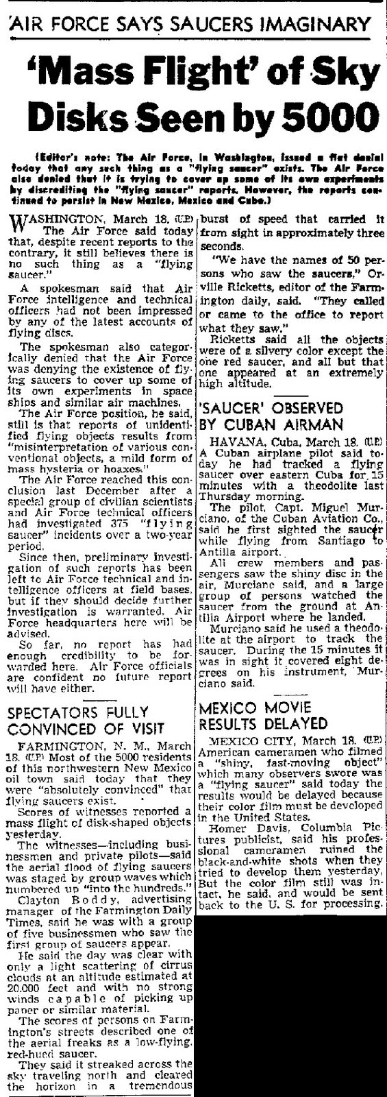 'Mass Flight' of Sky Disks Seen by 5000 - Long Beach Press-Telegram 3-18-1950
