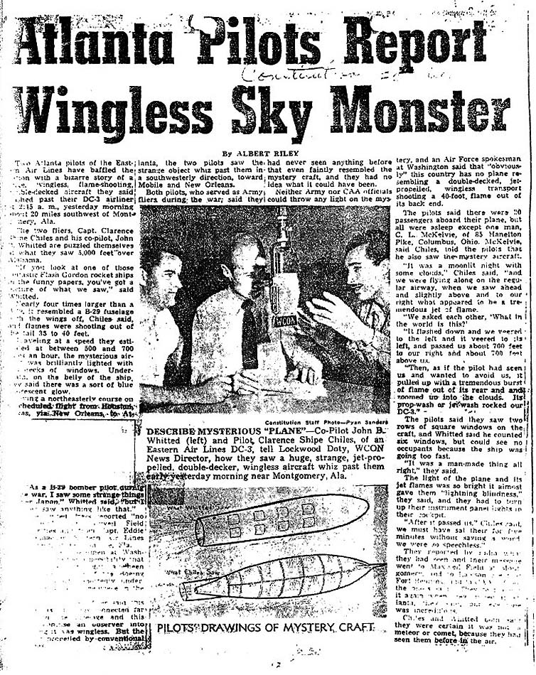 "1948 – Atlanta Airplane Pilots Encounter ""Wingless Flying Monster"""