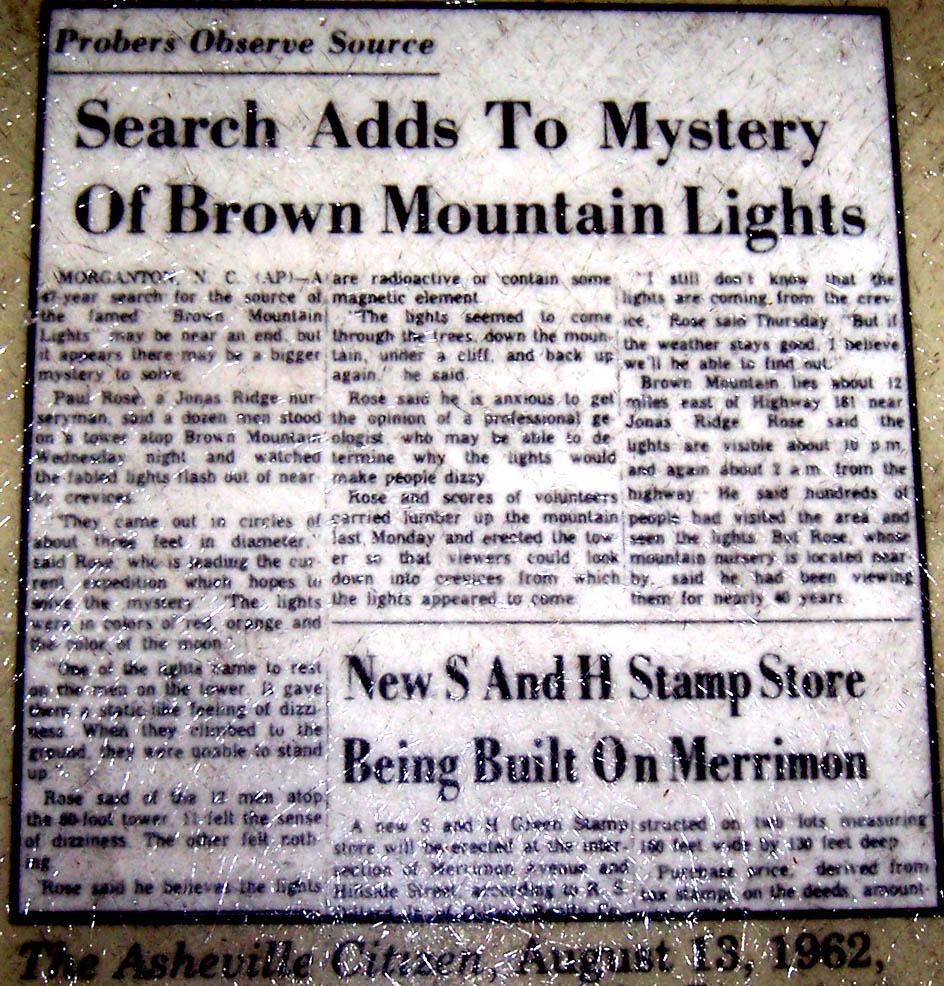 brown mountain lights